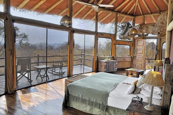 Tree house interior on safari trip