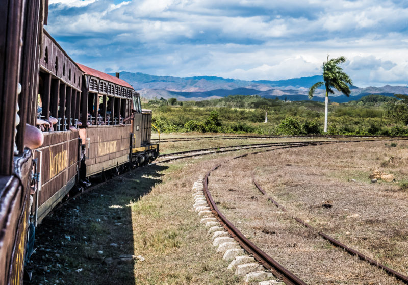 train countryside cuba