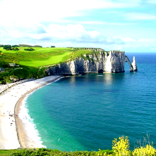 Golf course on Normandy coast cliffs