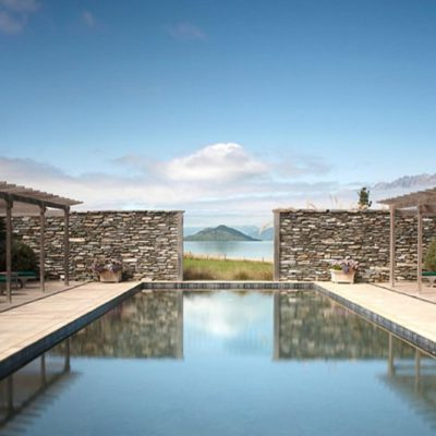 Blanket Bay Lodge has a lovely pool with a beautiful view of the mountains
