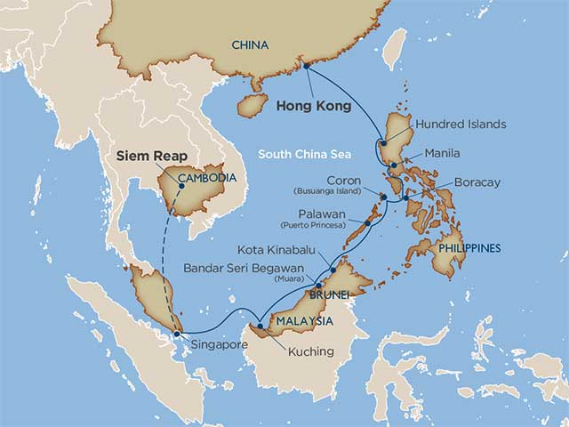 map of cruise itinerary from siem reap to manila