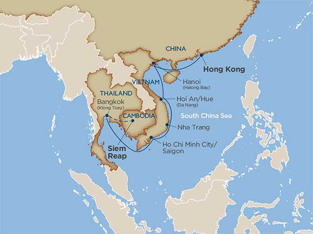 map of itinerary for cruise between hong kong going down to southeast asia and a stop at angkor wat