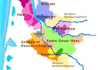 carte de vins autour de bordeaux