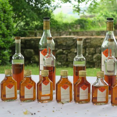 Armagnac bottles in Gascony